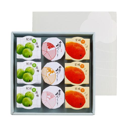 マンゴー、梅、甘夏、レモン、桃の5種が各3個。全部で9個入った、ご贈答用詰合せセットはこちら