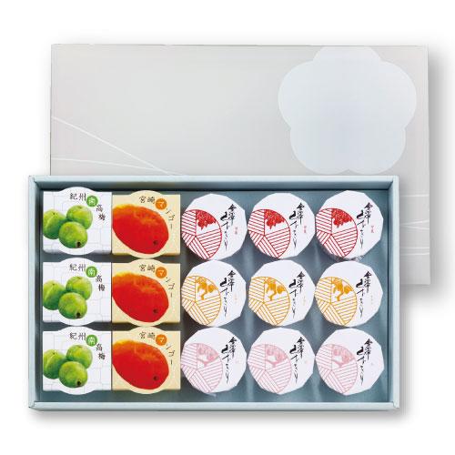 マンゴー、梅、甘夏、レモン、桃の5種が各3個。全部で15個入った、くずきりたっぷり堪能のご贈答詰合せセットはこちら