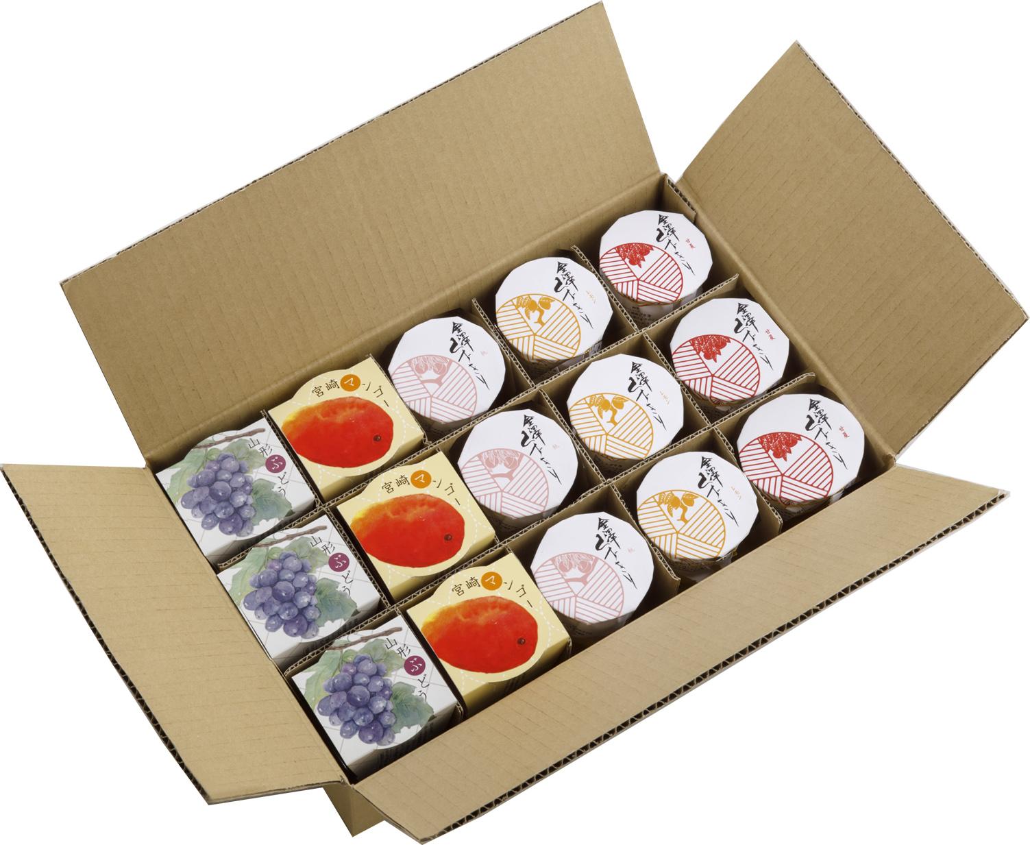 マンゴー、ぶどう、甘夏、レモン、桃の5種が各3個。全部で15個入った、くずきりたっぷり堪能ご自宅用詰合せセットはこちら
